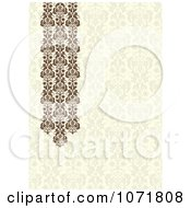 Clipart Beige And Brown Damask Floral Invitation With Copyspace Royalty Free Vector Illustration