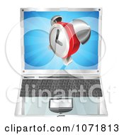 Clipart 3d Alarm Clock Emerging From A Laptop Computer Royalty Free Vector Illustration