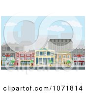 Clipart Townhomes On An Urban Street Scene With City Skyscrapers In The Distance Royalty Free Vector Illustration by AtStockIllustration