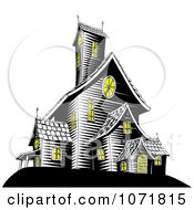 Clipart Lights On In A Creepy Haunted House Royalty Free Vector Illustration by AtStockIllustration