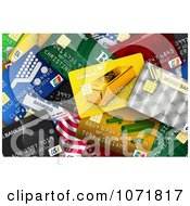 Clipart Background Of A Pile Of 3d Credit Cards Royalty Free CGI Illustration by stockillustrations