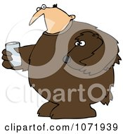 Clipart Mascot Man In A Bear Suit Holding A Glass Of Water Royalty Free Vector Illustration
