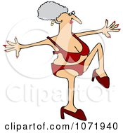 Clipart Senior Woman Doing A High Step In Heels And A Red Bikini Royalty Free Vector Illustration