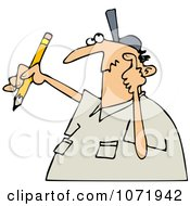 Clipart Author Man With Writers Block Scratching His Head And Holding A Pencil Royalty Free Vector Illustration