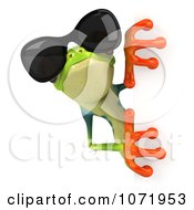 3d Argie Frog Wearing Sunglasses And Holding A Blank Sign 3