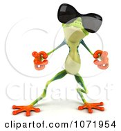 Clipart 3d Argie Frog Wearing Sunglasses And Dancing 1 Royalty Free CGI Illustration