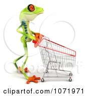 Clipart 3d Argie Frog Pushing A Shopping Cart 1 Royalty Free CGI Illustration by Julos