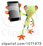 3d Argie Frog Holding Out A Smart Phone 1