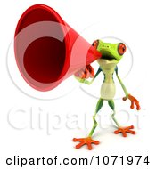 Clipart 3d Argie Frog Announcing With A Megaphone 2 Royalty Free CGI Illustration