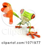 Clipart 3d Argie Frog Holding A Thumb Down Royalty Free CGI Illustration by Julos