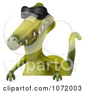 Clipart 3d Dinosaur Wearing Shades And Holding An Advertising Sign 2 Royalty Free CGI Illustration