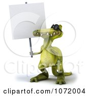 Clipart 3d Dinosaur Wearing Shades And Holding An Advertising Sign 1 Royalty Free CGI Illustration