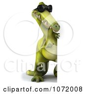 Clipart 3d Dinosaur Wearing Shades And Holding An Advertising Sign 3 Royalty Free CGI Illustration