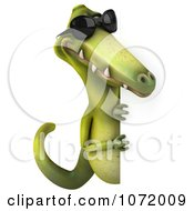 Clipart 3d Dinosaur Wearing Shades And Holding An Advertising Sign 4 Royalty Free CGI Illustration