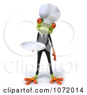 Clipart 3d Chef Springer Frog Holding A Plate 1 Royalty Free CGI Illustration