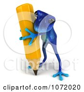 3d Blue Springer Frog Writing With A Pencil