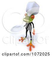 Clipart 3d Chef Springer Frog Holding A Plate 3 Royalty Free CGI Illustration