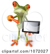 Clipart 3d Springer Frog Presenting A Computer Tablet 2 Royalty Free CGI Illustration by Julos