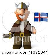Clipart 3d Young Viking Holding An Iceland Flag And Sword 1 Royalty Free CGI Illustration
