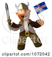 Clipart 3d Young Viking Holding An Iceland Flag And Sword 5 Royalty Free CGI Illustration