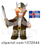 Clipart 3d Young Viking Holding An Iceland Flag And Sword 3 Royalty Free CGI Illustration