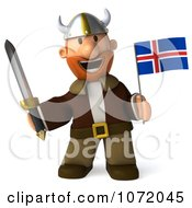 Clipart 3d Young Viking Holding An Iceland Flag And Sword 4 Royalty Free CGI Illustration