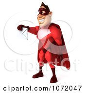 Clipart 3d Red Super Hero Holding A Mail Envelope 2 Royalty Free CGI Illustration