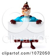 Clipart 3d Super Dude Holding A Blank Sign 1 Royalty Free CGI Illustration