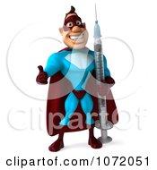 Clipart 3d Super Dude Holding A Syringe Royalty Free CGI Illustration