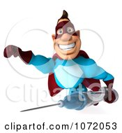 Clipart 3d Super Dude Flying With A Syringe 1 Royalty Free CGI Illustration
