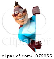 Clipart 3d Super Dude Holding A Blank Sign 5 Royalty Free CGI Illustration by Julos