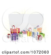 Clipart 3d Gift Boxes Around A White Billboard Royalty Free Vector Illustration