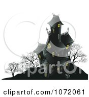 Clipart Dark Halloween Haunted Mansion On A Hill Royalty Free Vector Illustration by AtStockIllustration