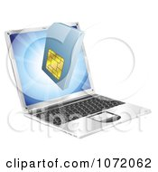 Clipart 3d Cell Phone SIM Card Emerging From A Laptop Royalty Free Vector Illustration