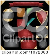 Clipart 3d Textured Leather Badges Frames And Shields Royalty Free Vector Illustration by vectorace