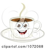Clipart Happy Coffee Cup Character On A Saucer Royalty Free Vector Illustration
