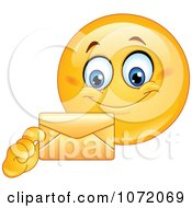 Clipart Happy Emoticon Holding A Letter Envelope Royalty Free Vector Illustration