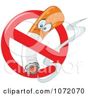 Clipart Grumpy Cigarette Character In A Prohibited Sign - Royalty Free Vector Illustration by yayayoyo
