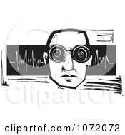 Black And White Woodcut Of A Man With Spiral Glasses And Sound Waves