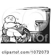 Black And White Woodcut Of A Baby On A Trike At The Bottom Of Stairs