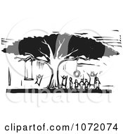Clipart Black And White Woodcut Of Children Playing On Tree Swings Royalty Free Vector Illustration by xunantunich