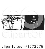 Clipart Black And White Woodcut Of A Woman With Good And Bad Sides Royalty Free Vector Illustration by xunantunich