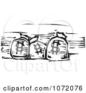 Clipart Black And White Woodcut Of Dollar Bank Money Bags Royalty Free Vector Illustration