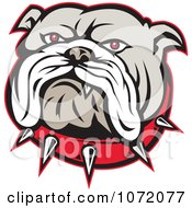 Clipart Angry Bulldog Face And Spiked Collar Royalty Free Vector Illustration
