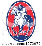 Clipart Blue And Red Jockey On Horseback Oval Royalty Free Vector Illustration