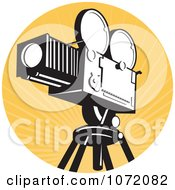 Clipart Vintage Movie Film Camera Over Orange Rays Royalty Free Vector Illustration