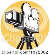 Clipart Vintage Movie Film Camera Over Orange Rays Royalty Free Vector Illustration