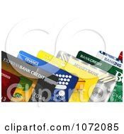 Clipart 3d Colorful Credit And Debit Cards With Copy Space Royalty Free CGI Illustration by stockillustrations