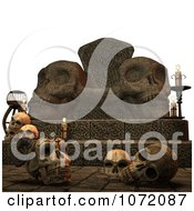 Clipart 3d Sacrificial Skulls And Throne Royalty Free CGI Illustration by Ralf61