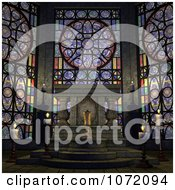 Clipart 3d Witchcraft Altar With Candles And Stained Glass Windows Royalty Free CGI Illustration